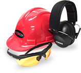 red hard hat, black head set, yellow protective glasses