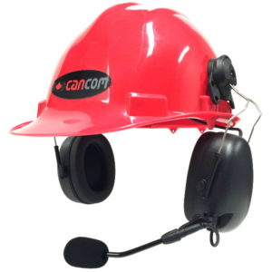 listen only headset hard hat mount